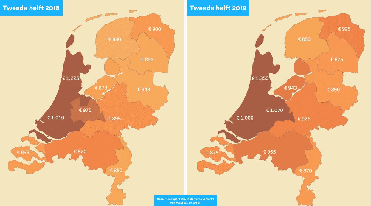Huurprijs berekenen: de gemiddelde huurprijs in Nederland