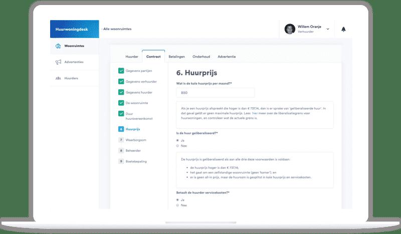 Huurwoningdesk dashboard huurcontract online vastgoedbeheer