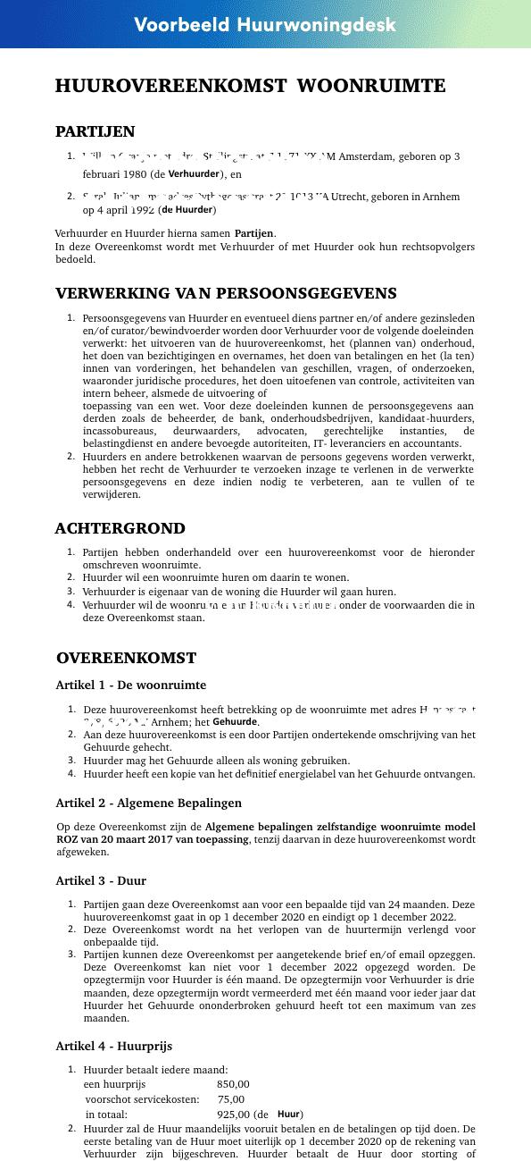 Voorbeeld-huurcontract